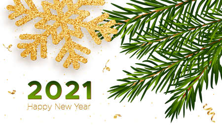 Christmas background with shining gold snowflake with branches of a fir tree and gold serpentine. Merry christmas and New Year greeting card, banner, poster. Vector Illustration. 矢量图像