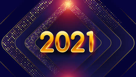 New Years holiday background 2021. Festive geometric purple vector background with golden numbers 2021 and glitter particles. Design element for advertising poster, flyer, postcard, holiday banner
