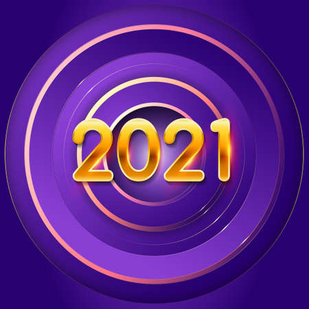 New Years holiday background 2021. Festive geometric purple vector background with golden numbers 2021. Design element for advertising poster, flyer, postcard, holiday banner