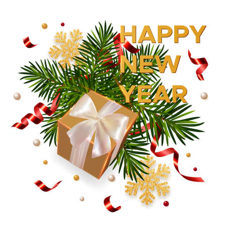 New Year background with gift, branches of a fir tree, shining gold snowflakes and serpentine. Concept for New Year and Christmas greeting card, banner, poster. Vector Illustration.
