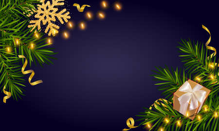 Christmas background with Christmas tree branches, luminous garlands, a gift, gold snowflake and gold tinsel. Christmas, New Year greeting card vector template. Xmas holiday poster 矢量图像