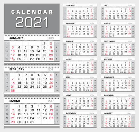 Wall quarterly calendar 2021 with week numbers. Week start from Sunday. 14 months. Ready for print, color - Silver, Black, Red. Vector Illustration
