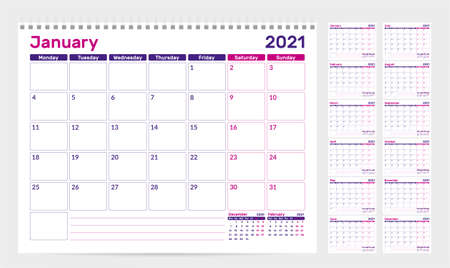 Calendar 2021. Week start from Monday. Set of 12 Months. Ready for print. Vector Illustration