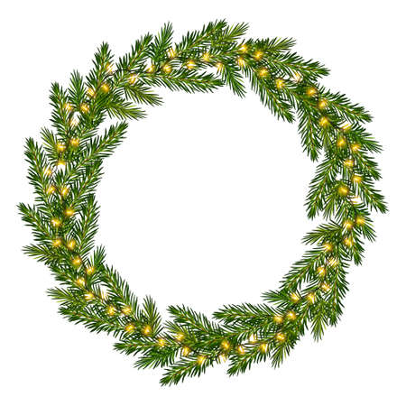 Wreath of fir tree branches with luminous garland. Christmas frame with glowing lights for greeting New Year and Christmas cards, banners, invitations 矢量图像