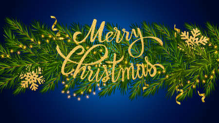 Merry Christmas lettering in fir branches with luminous garland, a gold snowflakes and gold tinsel. Christmas dark background for greeting New Year and Christmas cards, banners, invitations 矢量图像