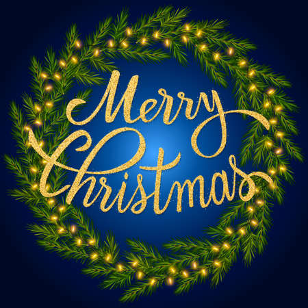 Merry Christmas glitter lettering in fir branches wreath with luminous garland. Christmas dark background with glowing lights for greeting New Year and Christmas cards, banners, invitations
