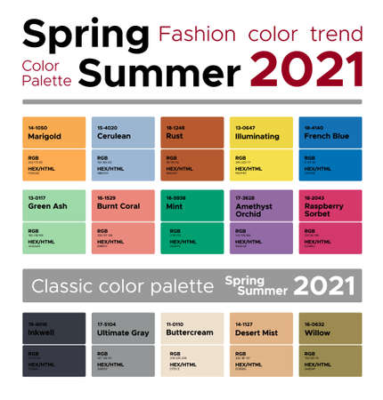 Fashion color trends Spring Summer 2021. Palette fashion colors guide with named color swatches, RGB, HEX colors.