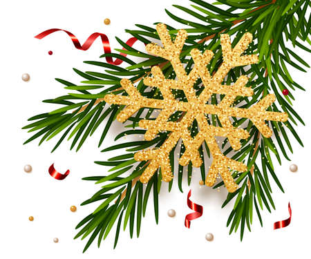 Gold snowflake on fir trees branches with serpentine. Concept for greeting New Year and Christmas cards, banners, invitations. Xmas holiday poster