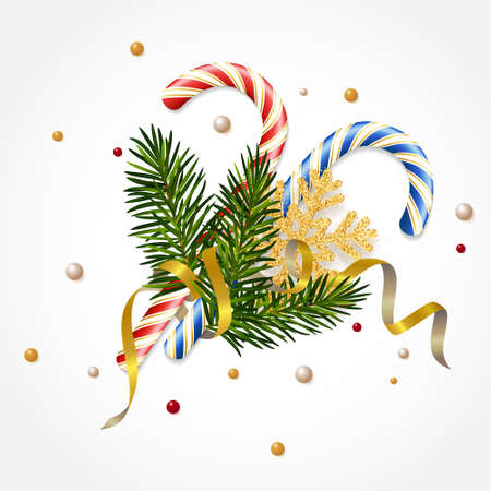 Christmas candies on white background with spruce branches, with a golden snowflake and a serpentine. Design template for New Year and Christmas greetings cards, banners, posters, flyers