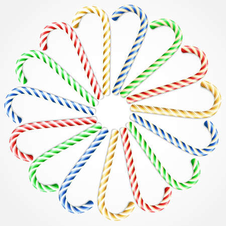 Realistic Christmas candy cane set isolated on white backdrop. Christmas vector illustration