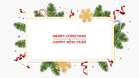 Merry Christmas and Happy New Year with realistic pine branches and glitter gold snowflakes, candy canes and serpentine.
