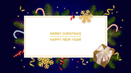 Merry Christmas and Happy New Year with realistic pine branches, gifts box and glitter gold snowflakes, candy canes and serpentine 矢量图像