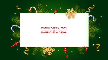 Merry Christmas and Happy New Year. Xmas background with realistic pine branches and glitter gold snowflakes, candy canes, serpentine. Christmas poster, greeting card, banner
