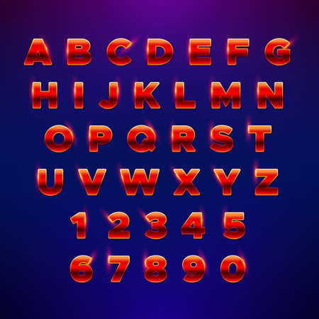 Red festive alphabet. Glowing font with shiny bright lights. Vector shiny Alphabet Letters and Numbers. Luxury stylish font for greeting cards, invitations, posters