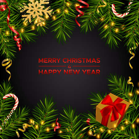 Merry Christmas and Happy New Year. Xmas dark background with realistic pine branches, gifts box and glitter gold snowflakes, candy canes, serpentine. Christmas, New Year greeting card vector template 矢量图像