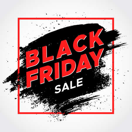 Black Friday sale. Hand drawn strokes. Grunge banner. Background for business, promotion and advertising. Concept for cover design, poster, badge, sticker. Vector illustration