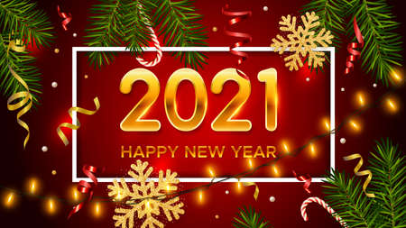New Years background. Holiday background with golden numbers 2021, realistic pine branches, glitter gold snowflakes and tinsel. New Years and Christmas poster, greeting card, banner