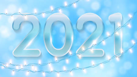 Blue Christmas background with glowing bokeh, shining garlands and numbers 2021. Christmas background with light garlands for winter and new year holidays. 矢量图像