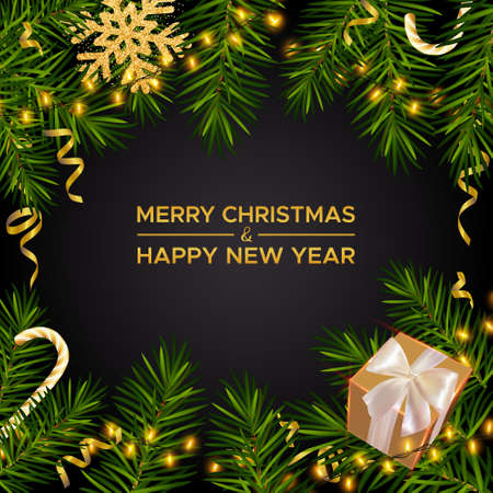 Merry Christmas and Happy New Year. Xmas dark background with realistic pine branches, gifts box and glitter gold snowflakes, candy canes, serpentine. Christmas poster, greeting card, banner