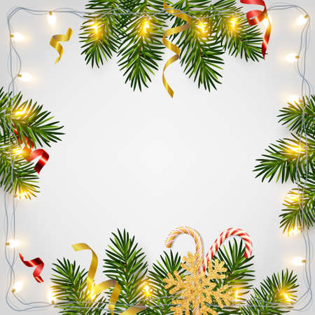 Christmas and New Year background with realistic pine branches, candy canes, serpentine, glitter gold snowflake. Template for Christmas and New Year greeting card, poster, postcard, banner