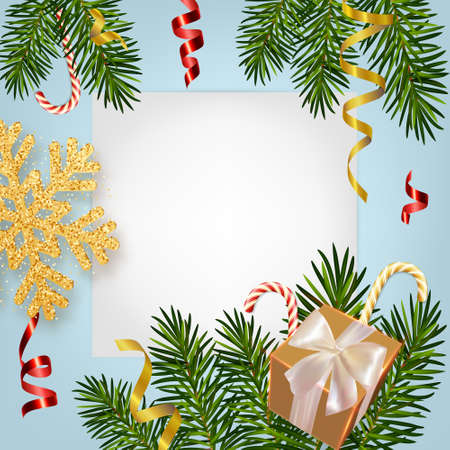 Christmas and New Year background with realistic pine branches, gifts box, candy canes, serpentine, glitter gold snowflake. Template for Christmas and New Year greeting card, poster, postcard, banner 矢量图像