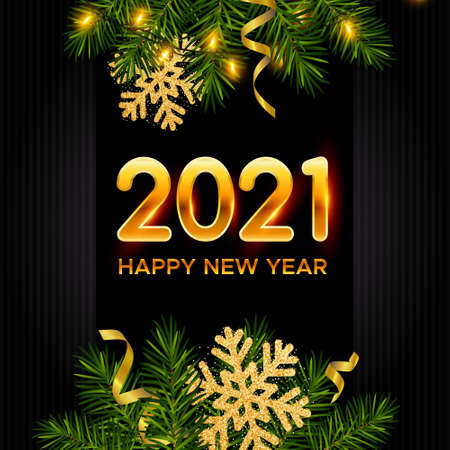 New Year dark background with pine branches, golden snowflakes, tinsel, shining garland and numbers 2021. Template for Christmas and New Year poster, postcard, banner for winter and new year holidays