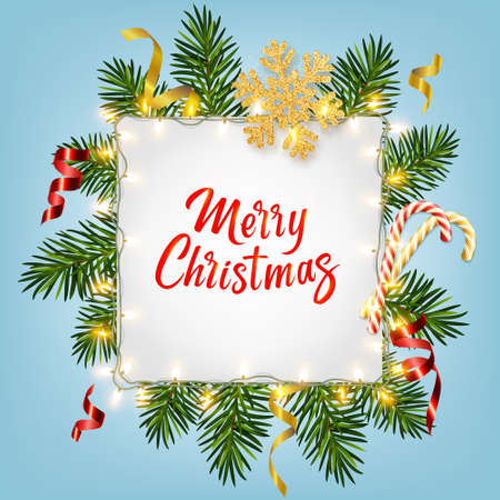 Christmas background with realistic pine branches, shining garlands, candy canes, serpentine, glitter gold snowflake, lettering Merry Christmas. For Christmas greeting card, poster, postcard, banner 矢量图像