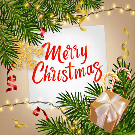 Christmas background with realistic pine branches, luminous garlands, gifts box, candy, serpentine, glitter gold snowflake, lettering Merry Christmas. Christmas greeting card, poster, postcard, banner 矢量图像