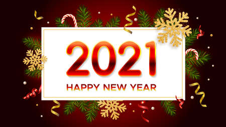 New Years and Christmas background with red gradient numbers 2021, realistic pine branches, glitter gold snowflakes and tinsel. New Years and Christmas poster, greeting card, banner 矢量图像