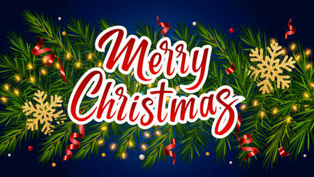 Blue background with lettering Merry Christmas, realistic pine branches, luminous garlands, glitter gold snowflake, serpentine. Christmas and New Year greeting card, poster, postcard, banner 矢量图像