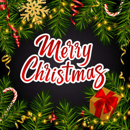 Christmas dark background with with lettering Merry Christmas, realistic pine branches, gifts box, glitter gold snowflakes, candy, serpentine. Christmas, New Year greeting card, banner, invitation 矢量图像