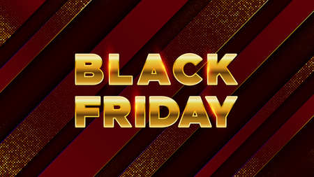Black Friday. Luxury background with golden text. For banner, poster, header website. Vector illustration