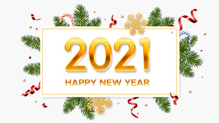 New Year 2021 background with pine branches, golden snowflakes, candy canes and tinsel. Template for Christmas and New Year poster, postcard, banner for winter and new year holidays