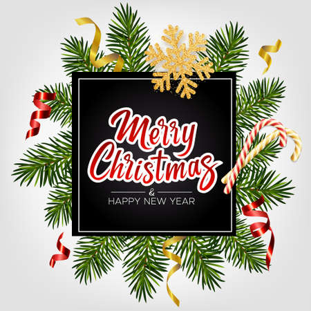 Xmas background with lettering Merry Christmas, realistic pine branches, candy canes, glitter gold snowflake, serpentine. Christmas and New Year greeting card, poster, postcard, banner 矢量图像