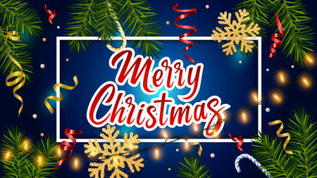 Blue background with realistic pine branches, luminous garlands, candy, serpentine, glitter gold snowflake, lettering Merry Christmas. Christmas greeting card, poster, postcard, banner 矢量图像
