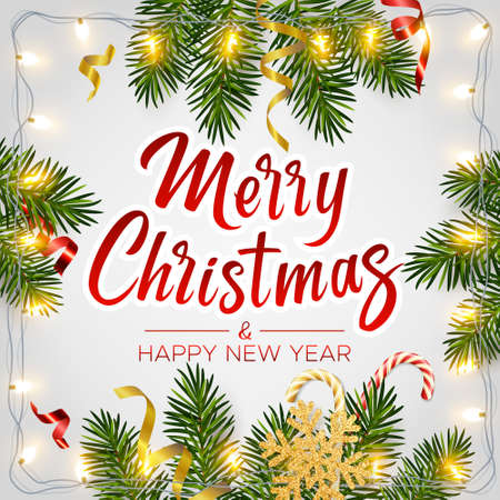 Christmas background with realistic pine branches, shining garlands, candy, serpentine, glitter gold snowflake, lettering Merry Christmas. Christmas, New Year greeting card, poster, postcard, banner 矢量图像