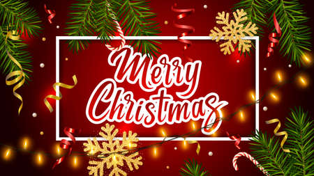 Red background with realistic pine branches, luminous garlands, candy, serpentine, glitter gold snowflake, lettering Merry Christmas. Christmas and New Year greeting card, poster, postcard, banner 矢量图像