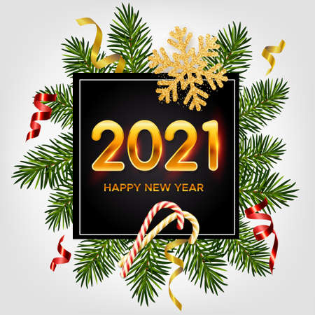 2021 New Years background. Holiday background with golden numbers 2021, realistic pine branches, glitter gold snowflakes, candy canes, serpentine. New Years and Christmas poster, greeting card, banner