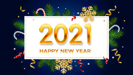 New Years and Christmas background with golden numbers 2021, realistic pine branches, glitter gold snowflakes and tinsel. New Years and Christmas poster, greeting card, banner