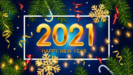 New Years and Christmas blue background with golden numbers 2021, realistic pine branches, candy, glitter gold snowflakes and tinsel. New Years and Christmas poster, greeting card, banner 矢量图像