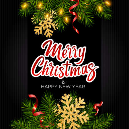 Black background with realistic pine branches, luminous garlands, serpentine, glitter gold snowflake, lettering Merry Christmas. Christmas and New Year greeting card, poster, postcard, banner 矢量图像