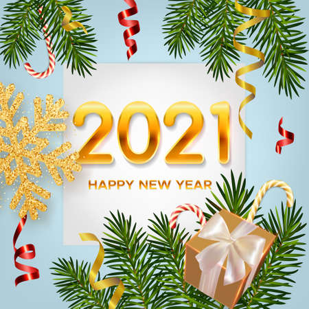 2021 New Year background with realistic pine branches, shining garlands, candy canes, gifts box, serpentine, glitter gold snowflake. Christmas and New Year greeting card, poster, postcard, banner 矢量图像