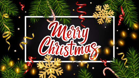 Black background with realistic pine branches, luminous garlands, candy, serpentine, glitter gold snowflake, lettering Merry Christmas. Christmas greeting card, poster, postcard, banner 矢量图像