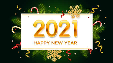 New Years and Christmas dark green background with golden numbers 2021, realistic pine branches, glitter gold snowflakes and tinsel. New Years and Christmas poster, greeting card, banner
