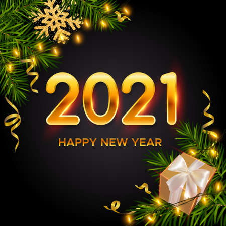 New Years and Christmas background with golden numbers 2021, realistic pine branches, gifts box, glitter gold snowflakes and tinsel. New Years and Christmas poster, greeting card, banner