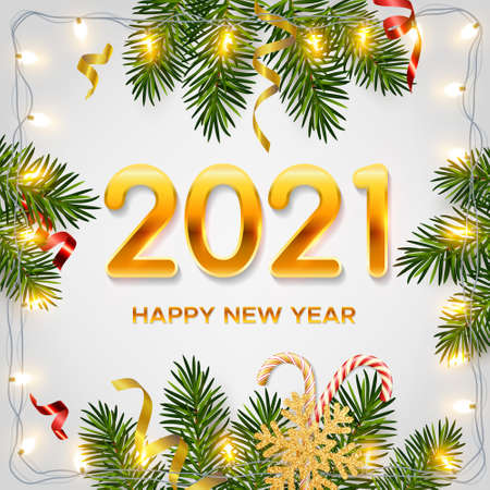2021 New Year background with realistic pine branches, shining garlands, candy canes, serpentine, glitter gold snowflake. Template for Christmas and New Year greeting card, poster, postcard, banner