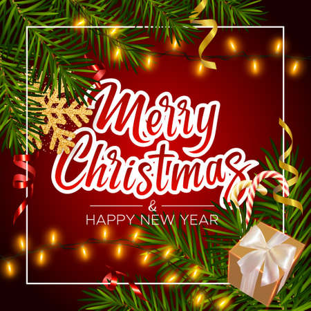 Christmas red background with realistic pine branches, gifts box, candy, serpentine, glitter gold snowflake, lettering Merry Christmas. Christmas and New Year greeting card, poster, postcard, banner 矢量图像