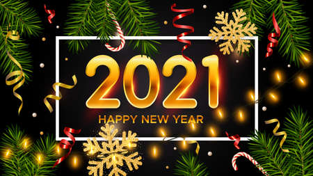 New Years and Christmas black background with golden numbers 2021, realistic pine branches, candy, glitter gold snowflakes and tinsel. New Years and Christmas poster, greeting card, banner
