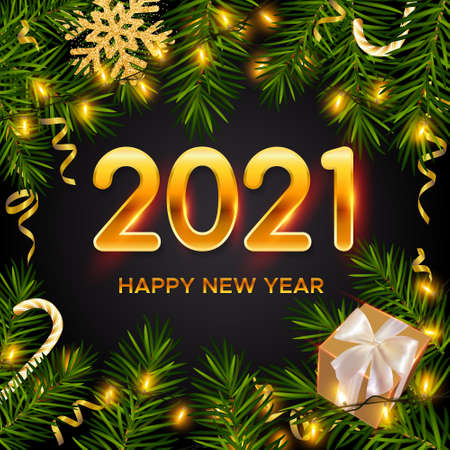 2021 New Year background with realistic pine branches, shining garlands, gifts box, candy canes, serpentine, glitter gold snowflake. Christmas and New Year greeting card, poster, postcard, banner