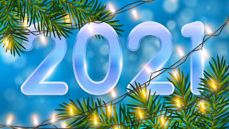 Blue Christmas background with glowing bokeh, realistic pine branches, shining garlands and numbers 2021. Christmas background with light garlands for winter and new year holidays